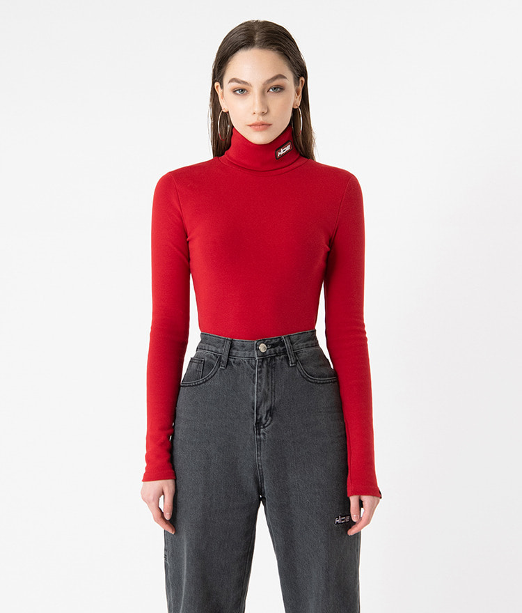 HIDELogo Patch Deep Red Turtleneck T-Shirt