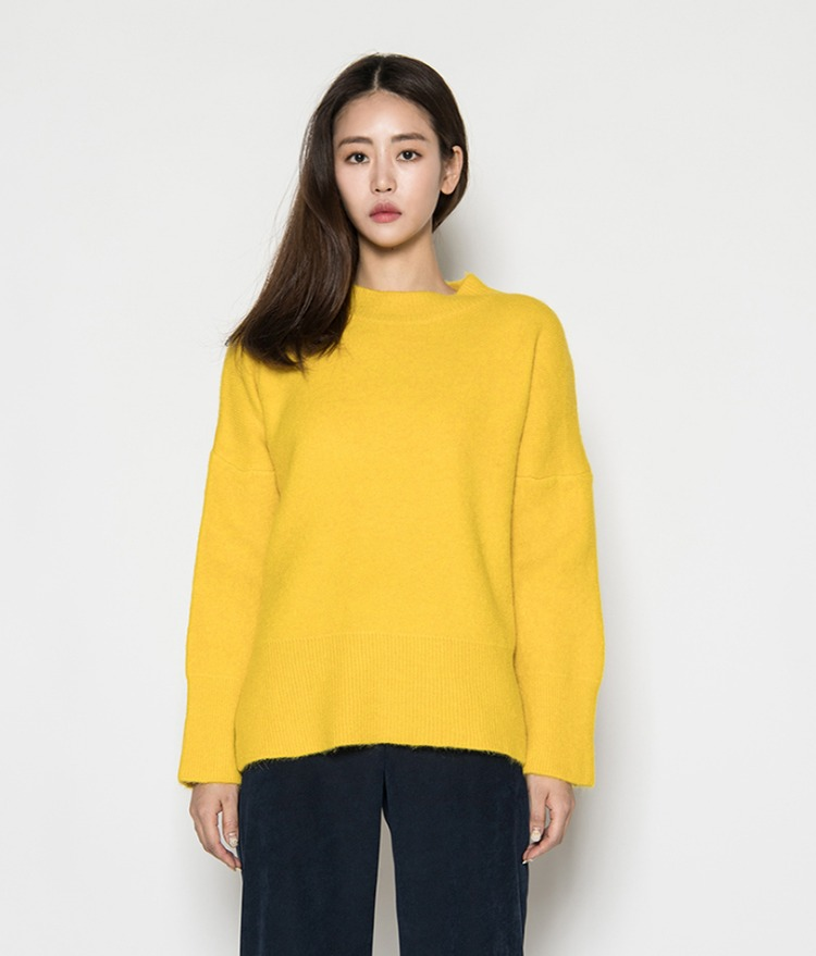 Mock Neck Side Slit Knit Top