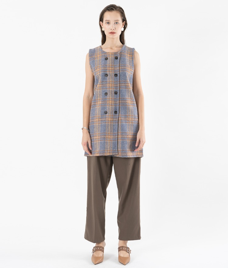 Double-Breasted Sleeveless Check Dress
