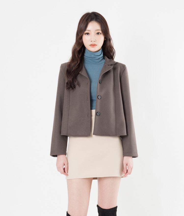 Notch Collar Cropped Jacket