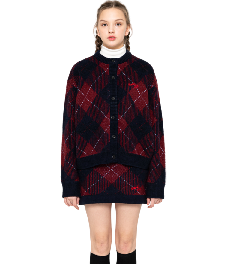 HEART CLUBWine-Toned Check Knit Cardigan