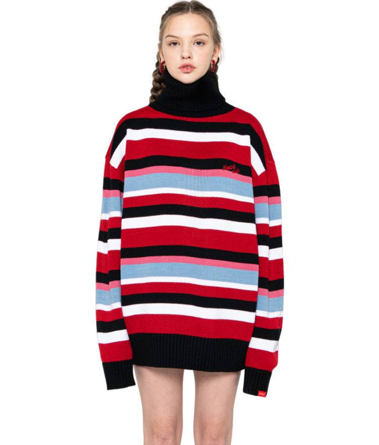 HEART CLUBLogo Detail Striped Turtleneck Knit Top