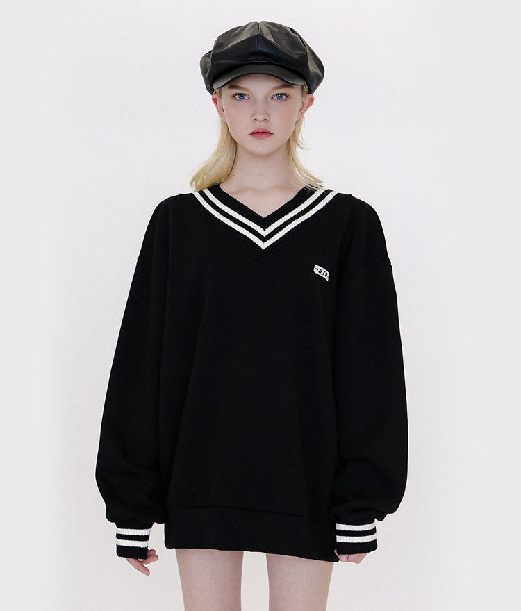 UNTITLE8Contrast Stripe Black Sweatshirt