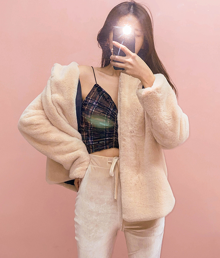 QUIETLABZip-Up Faux Fur Jacket
