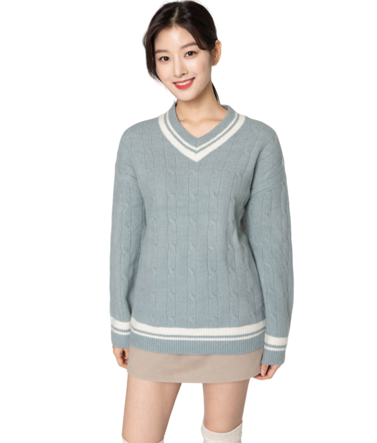 Contrast Edges Cable Knit Sweater