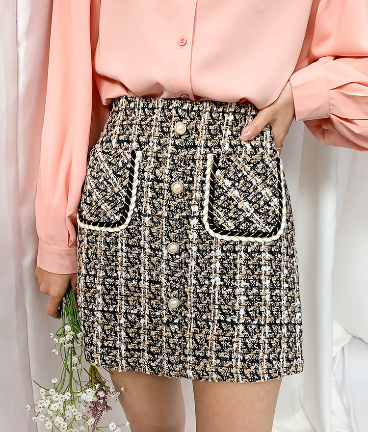 ROMANTIC MUSEPatch Pocket Tweed Skort