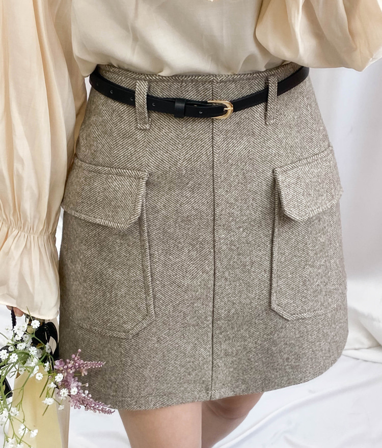 ROMANTIC MUSEHerringbone A-Line Mini Skirt