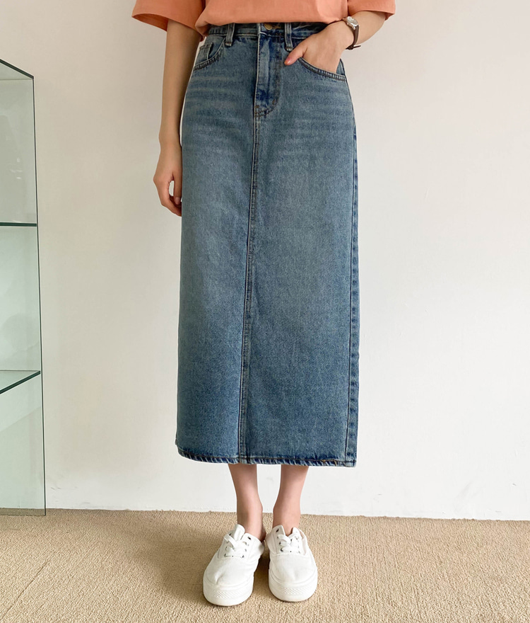 ESSAYWhisker Wash Straight Cut Long Denim Skirt