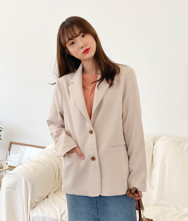ESSAYSolid Tone Notch Lapel Loose Jacket