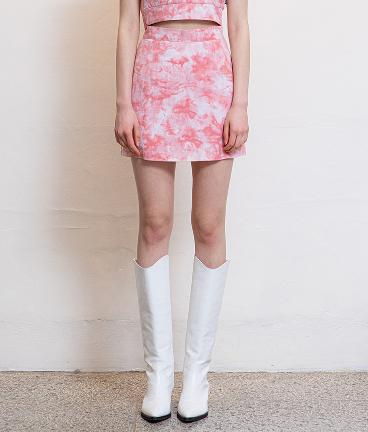 HIDEPink Tie-Dye Mini Skirt