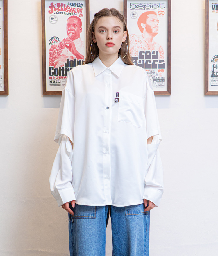 HIDEIvory-Tone Detachable Sleeve Shirt