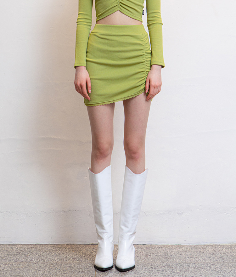 HIDELace-Trimmed Hem Olive Mini Skirt