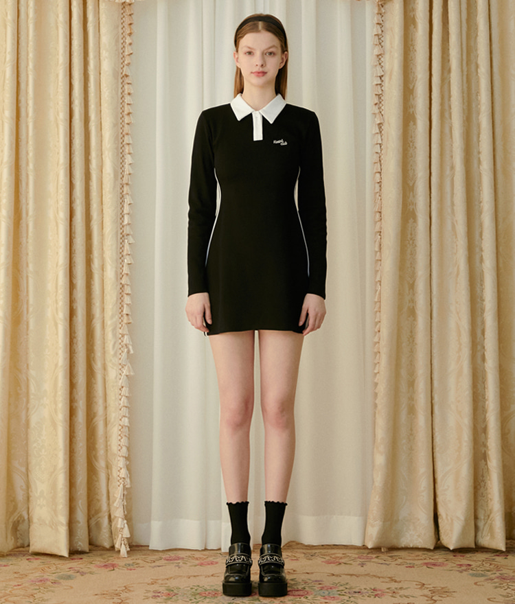 HEART CLUBBlack Contrast Collar Slim Mini Dress