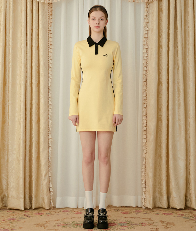 HEART CLUBLight Yellow Contrast Collar Slim Mini Dress