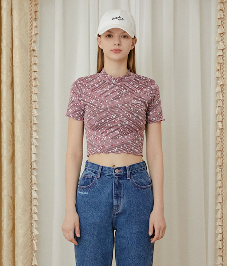HEART CLUBPink Lettuce Edge Floral Crop Top