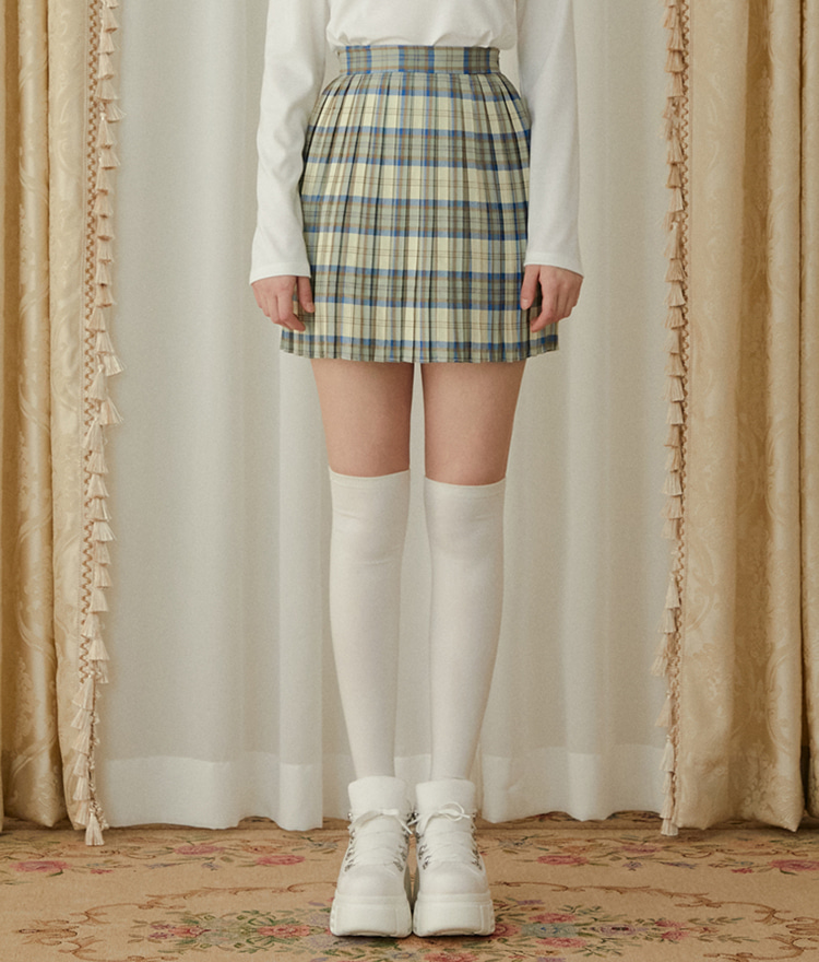 HEART CLUBBlue Check Mini Skirt