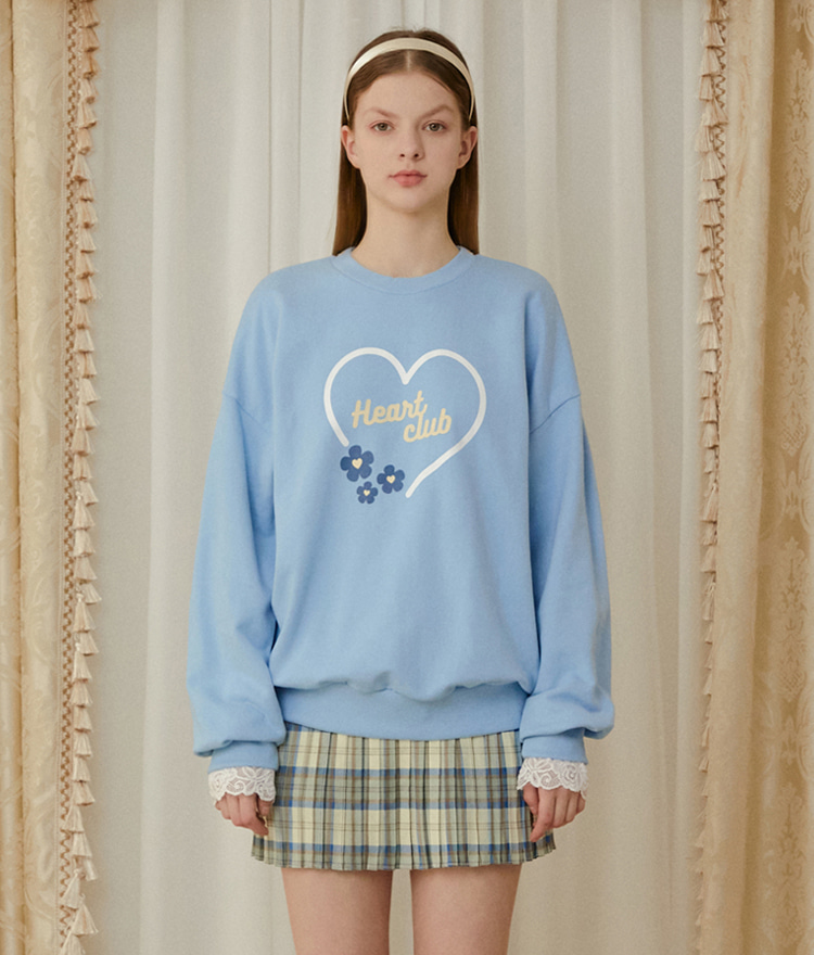 HEART CLUBSky Blue Logo And Flower Print Sweatshirt