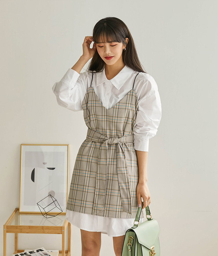 ROMANTIC MUSESelf-Tie Waist Check Sleeveless Dress
