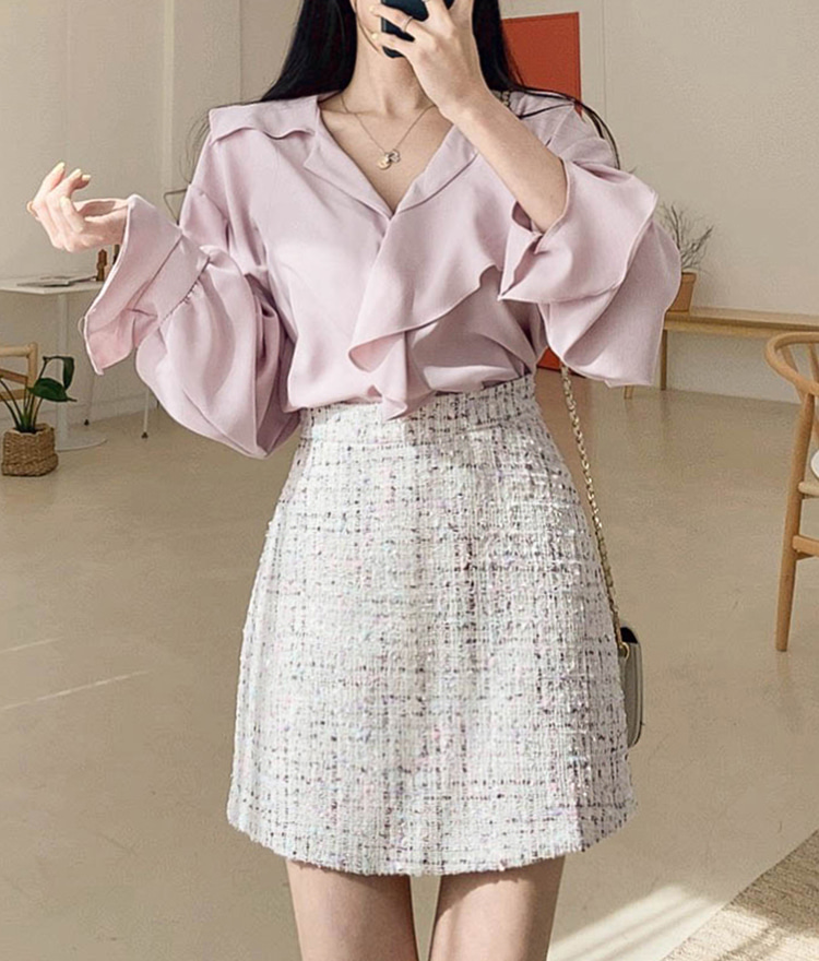 ROMANTIC MUSEA-Line Tweed Mini Skirt