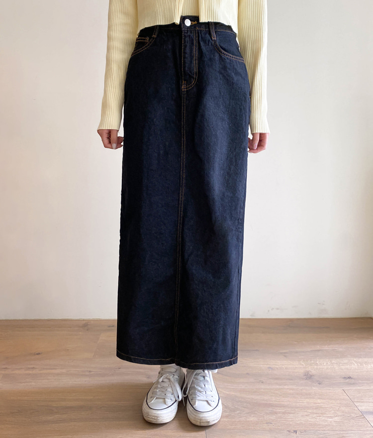 ESSAYStraight Cut Maxi Denim Skirt