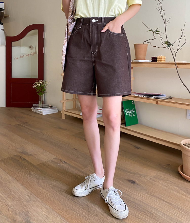 ESSAYContrast Stitch Wide-Leg Shorts