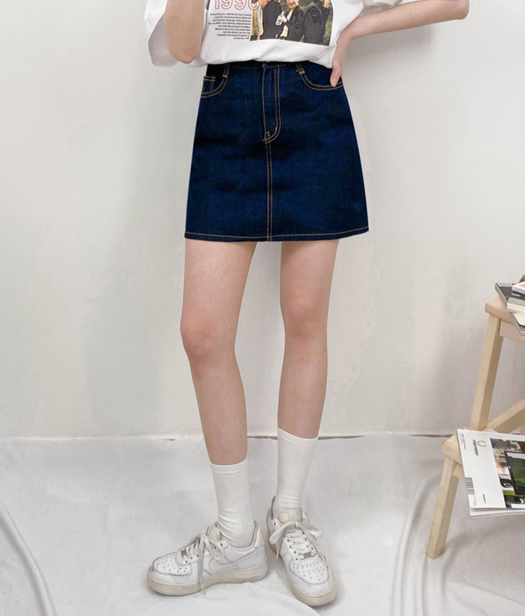 NEVERM!NDContrast Stitch Blue Denim Mini Skirt