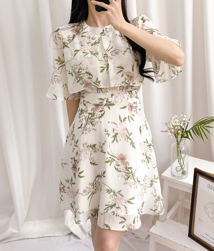ROMANTIC MUSEFlounce Sleeve Floral Dress