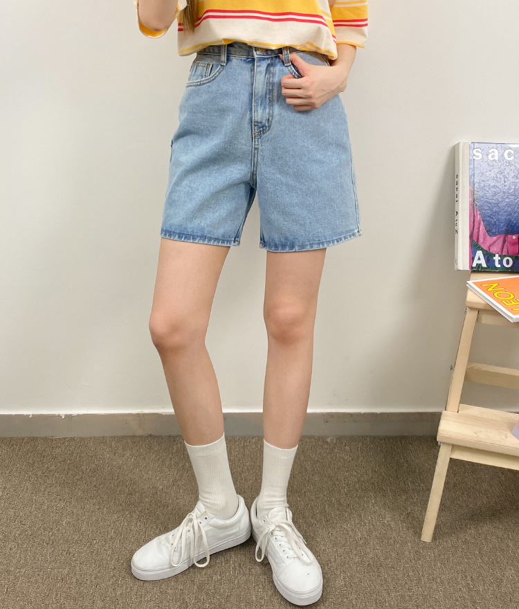 NEVERM!NDHigh Waist Blue Denim Shorts