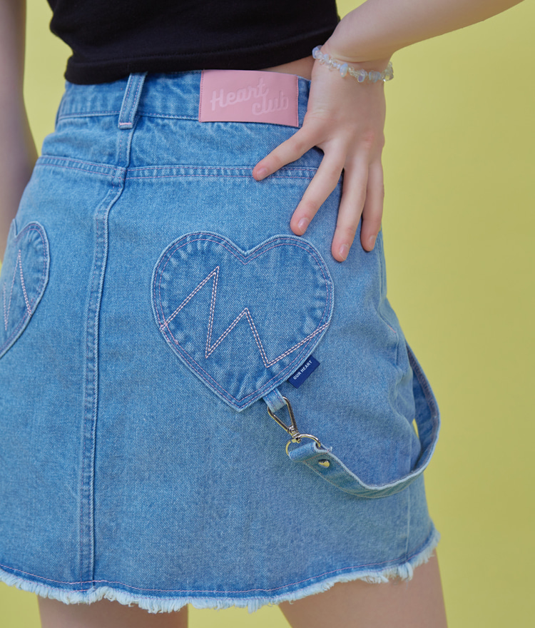 Heart Strap Denim Skirt (Blue)