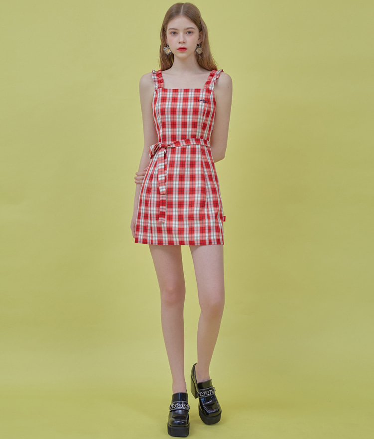 Heart Check Sleeveless Dress (Red)
