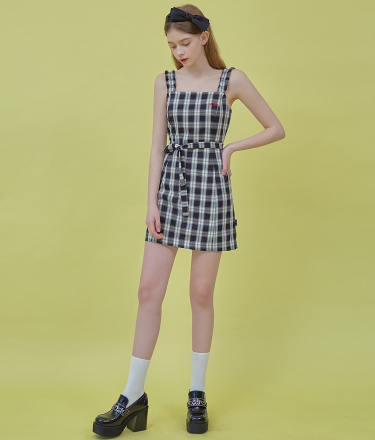Heart Check Sleeveless Dress (Black)