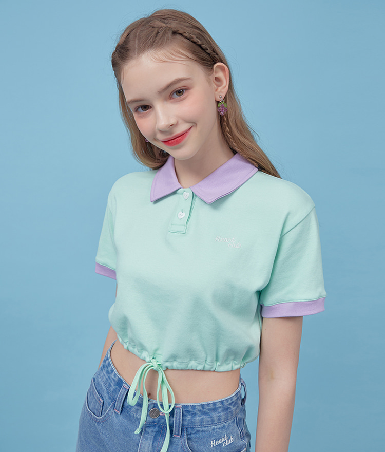 Heart Collar Crop Top (Mint)