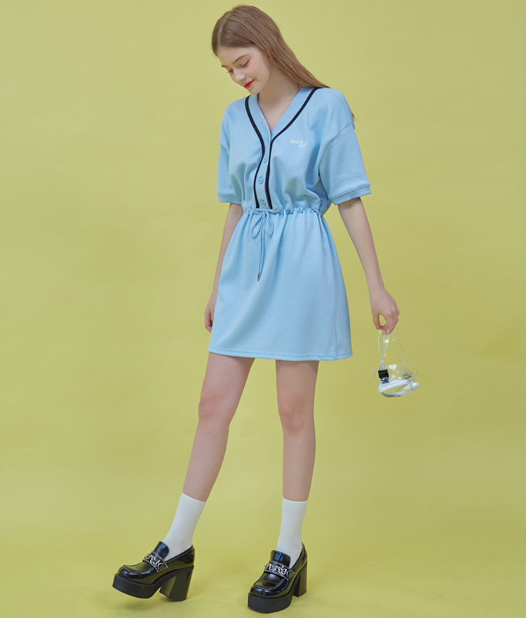 Heart Color Block Dress (Sky Blue)