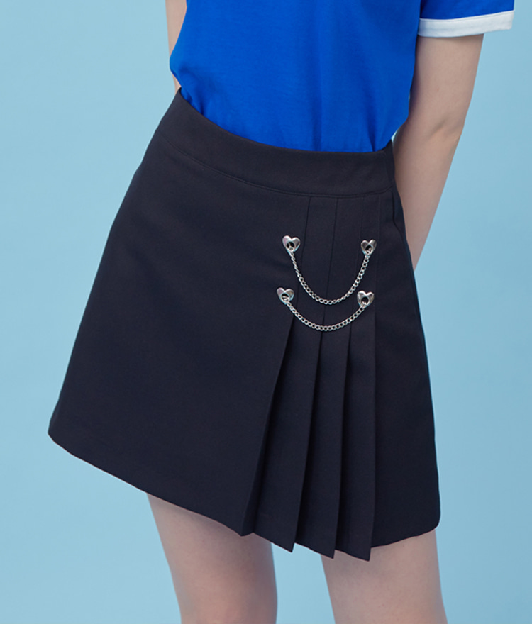 Heart Chain Pleats Skirt (Black)