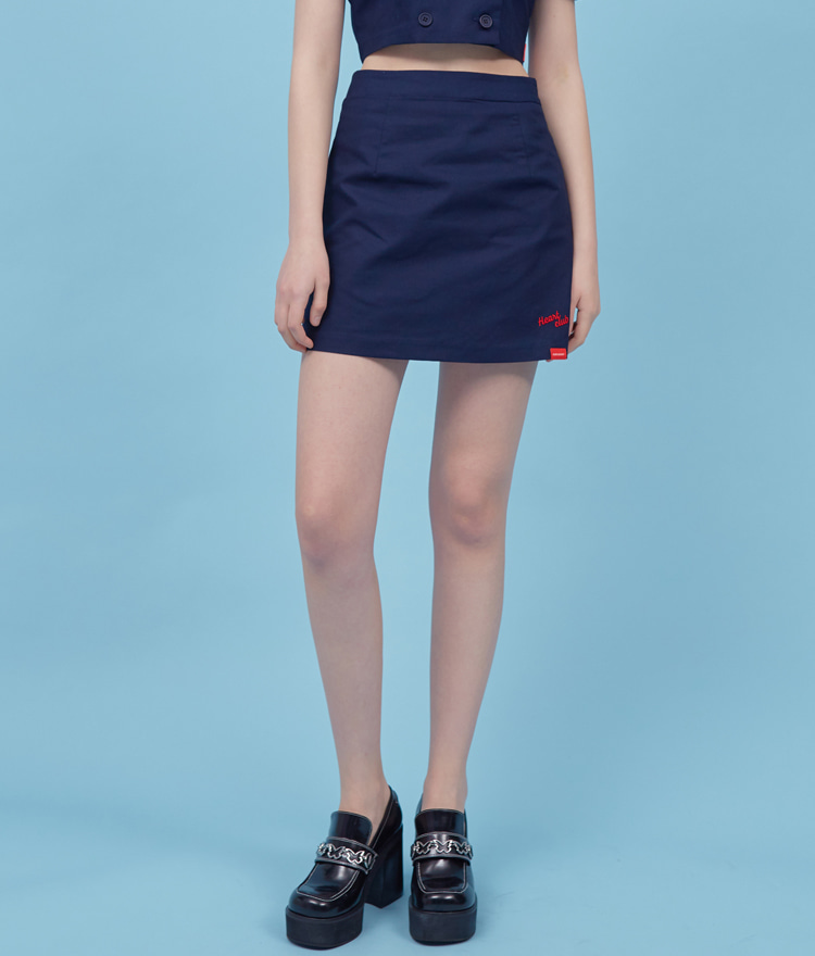 HEART CLUBSide Zipper Navy Mini Skirt