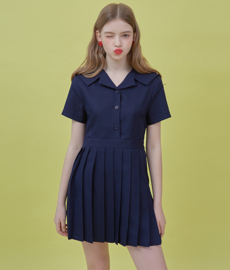 HEART CLUBDeep Navy Pleated Skirt Dress