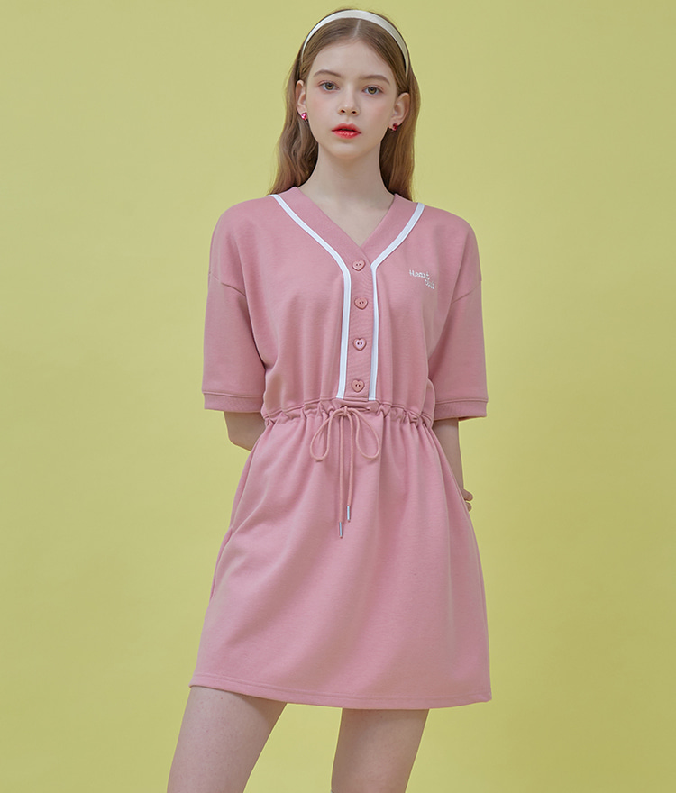 HEART CLUBIndie Pink Drawstring Waist Mini Dress
