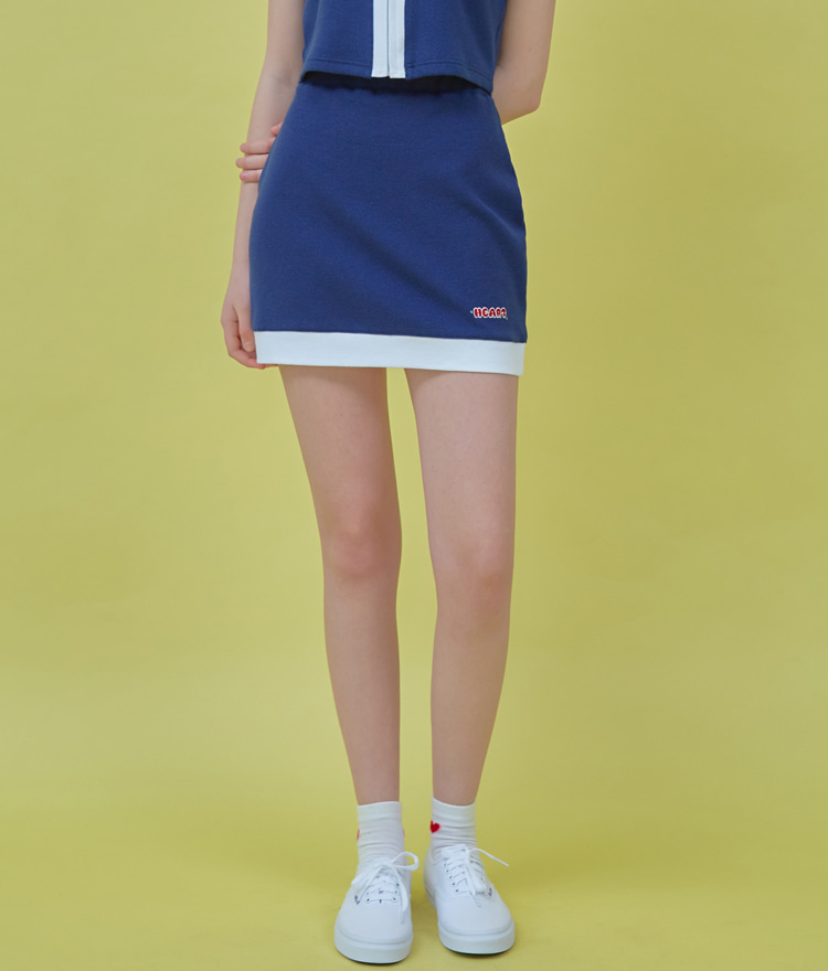 HEART CLUBNavy Contrast Hem Mini Skirt