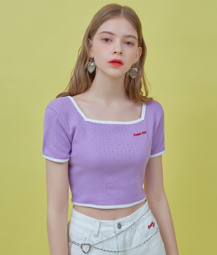 HEART CLUBCrisscross Strap Light Purple Crop Top