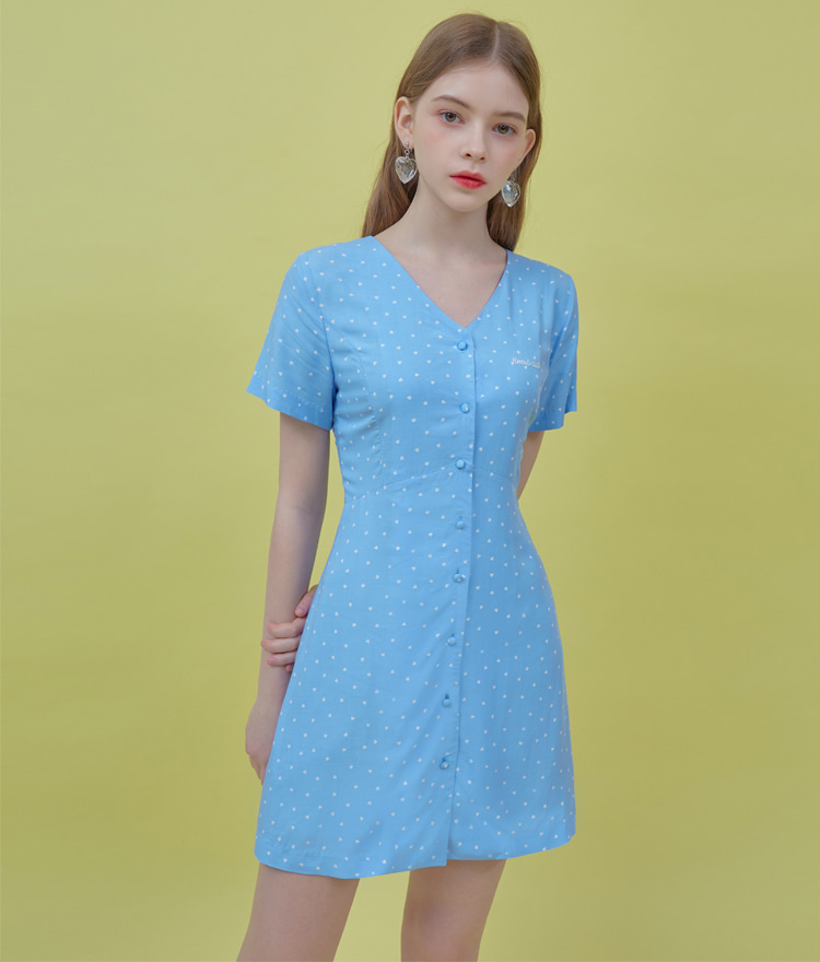 HEART CLUBTiny Heart Pattern Lace-Up Back Blue Dress