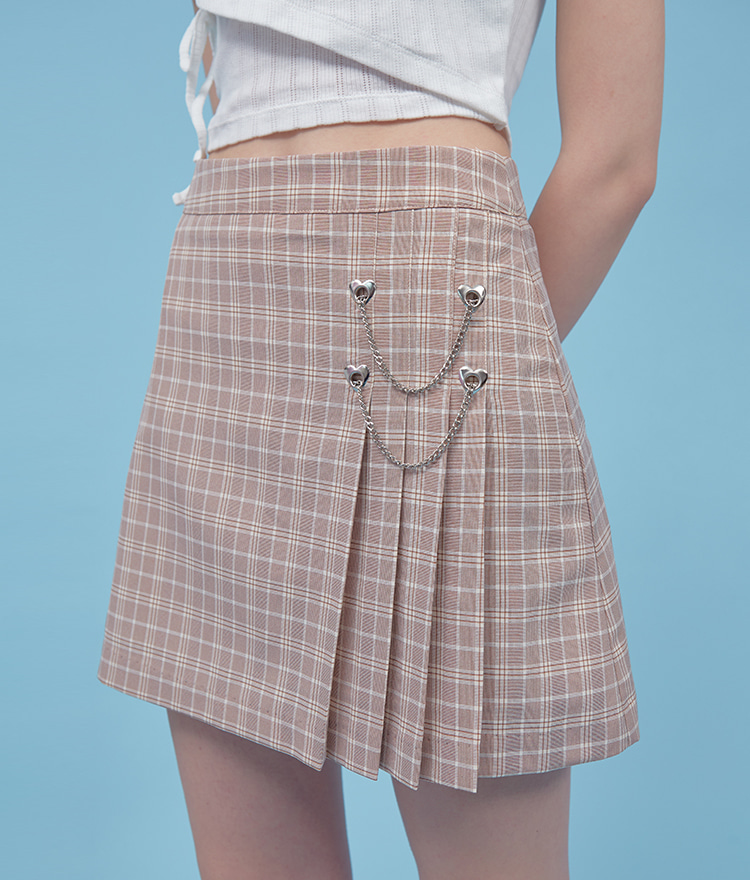 Heart Chain Pleats Skirt (Pink Check)