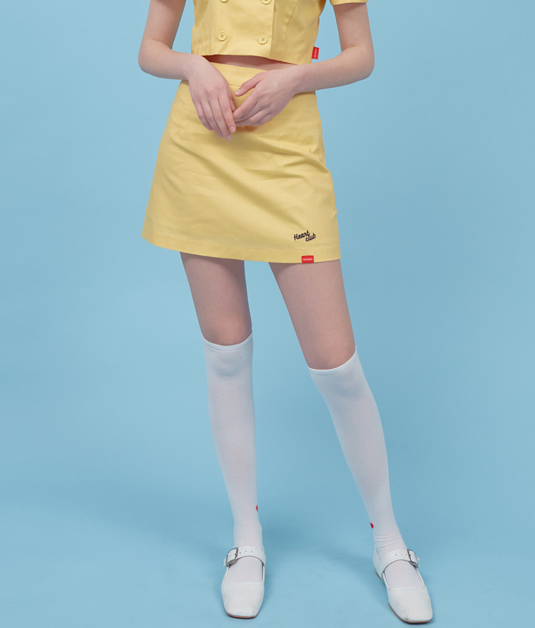 HEART CLUBSide Zipper Yellow Mini Skirt