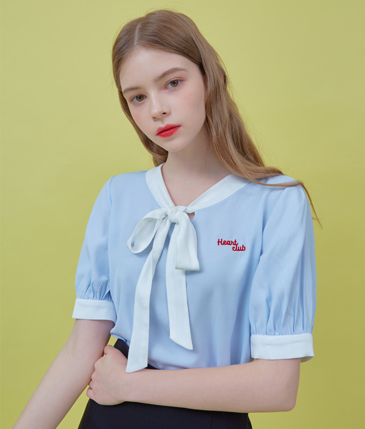 HEART CLUBContrast Tie-Neck Sky Blue Blouse