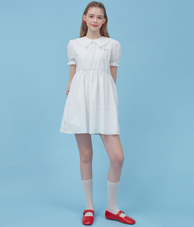 HEART CLUBWhite Eyelet Lace Mini Dress