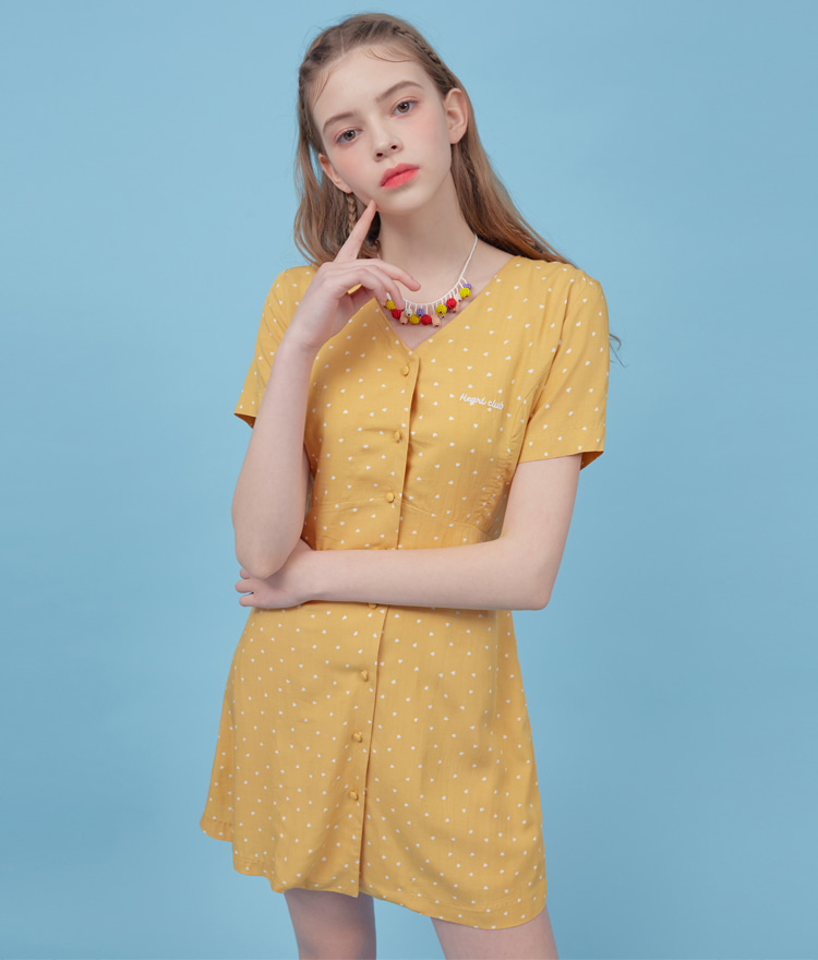 HEART CLUBTiny Heart Pattern Lace-Up Back Yellow Dress