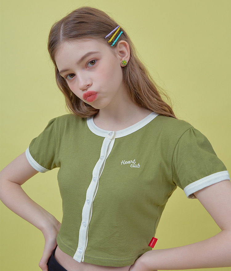 HEART CLUBContrast Edge Khaki Crop Top