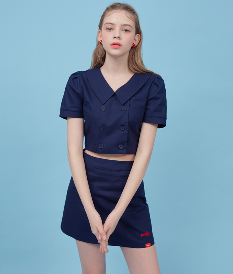 HEART CLUBNavy Double-Breasted Front Crop Blouse