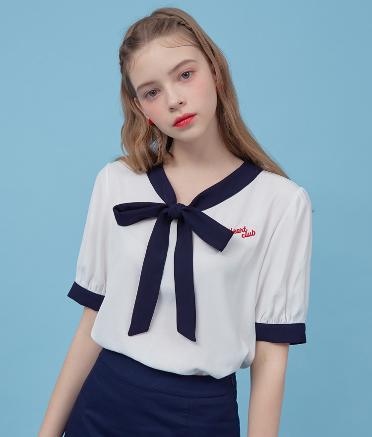 HEART CLUBContrast Tie-Neck White Blouse