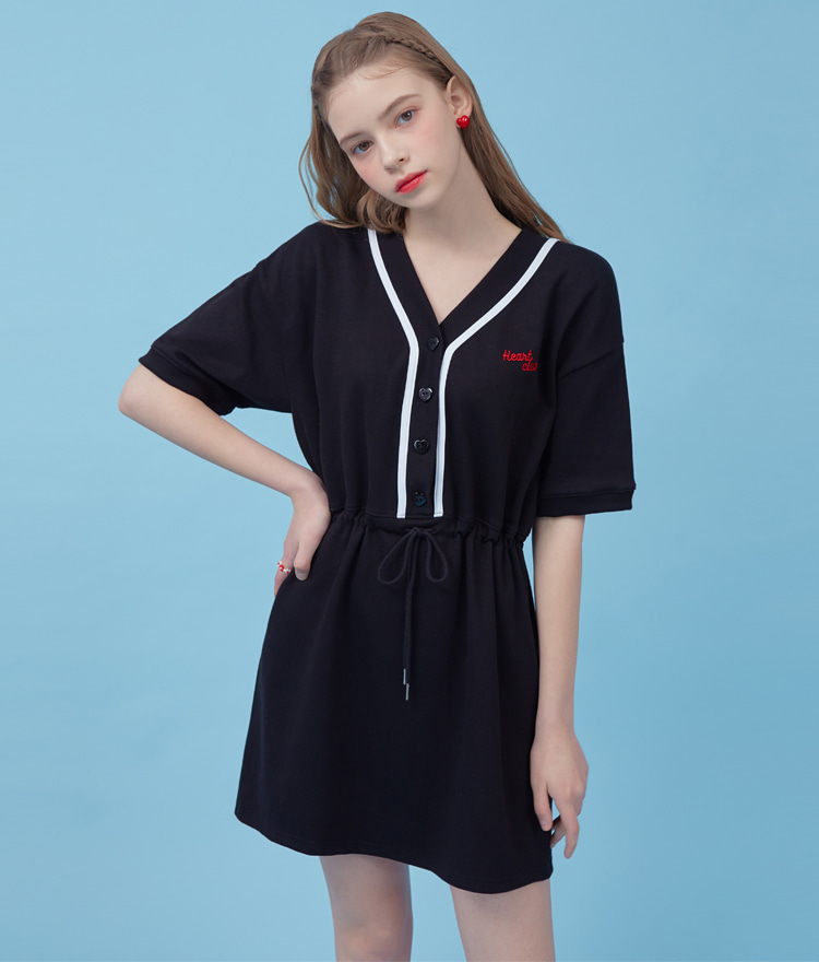 HEART CLUBBlack Drawstring Waist Mini Dress