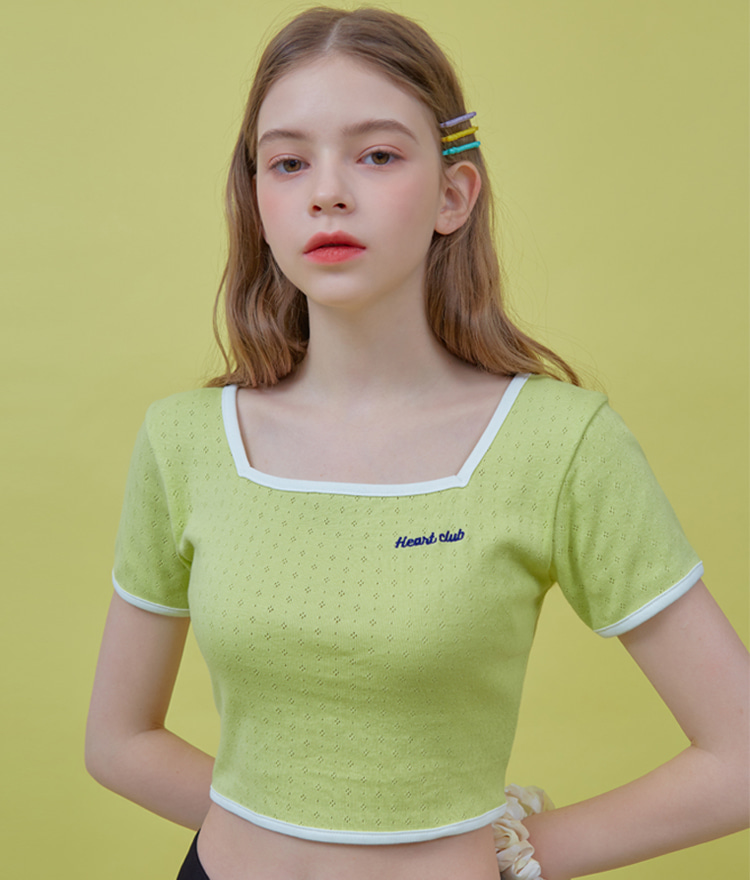 HEART CLUBCrisscross Strap Lime Crop Top